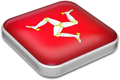 Flag of Isle of Man with metallic square frame