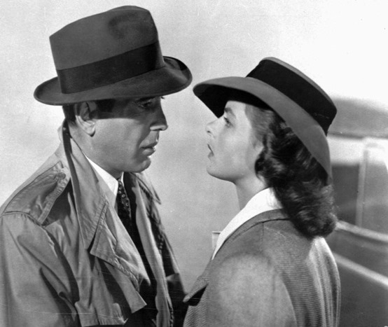 "** FILE ** This studio publicity file photo shows actors Humphrey Bogart, left, and Swedish-born actress Ingrid Bergman in a scene from the 1943 classic film ""Casablanca.""  The American Film Institute released their list of nominees, Wednesday, Nov. 17, 2004, for the top 100 quotes from U.S. movies, with contenders including Bogart's ""Here's looking at you, kid"" from ""Casablanca,"" Arnold Schwarzenegger's ""I'll be back"" from ""The Terminator"" and Jack Nicholson's ""You can't handle the truth!"" from ""A Few Good Men."" Bogart has 10 quotes on the ballot. (AP Photo)"