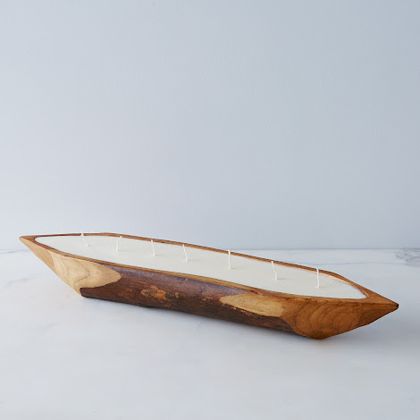 Large Teak Boat Candle