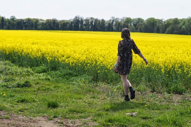 girl wearing a dress in yellow field