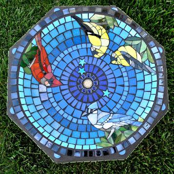 Feathered Friends Mosaic Birdbath