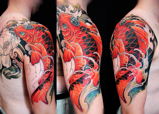 Koi fish tattoo meaning and 29 design ideas for How long after a tattoo can you go swimming