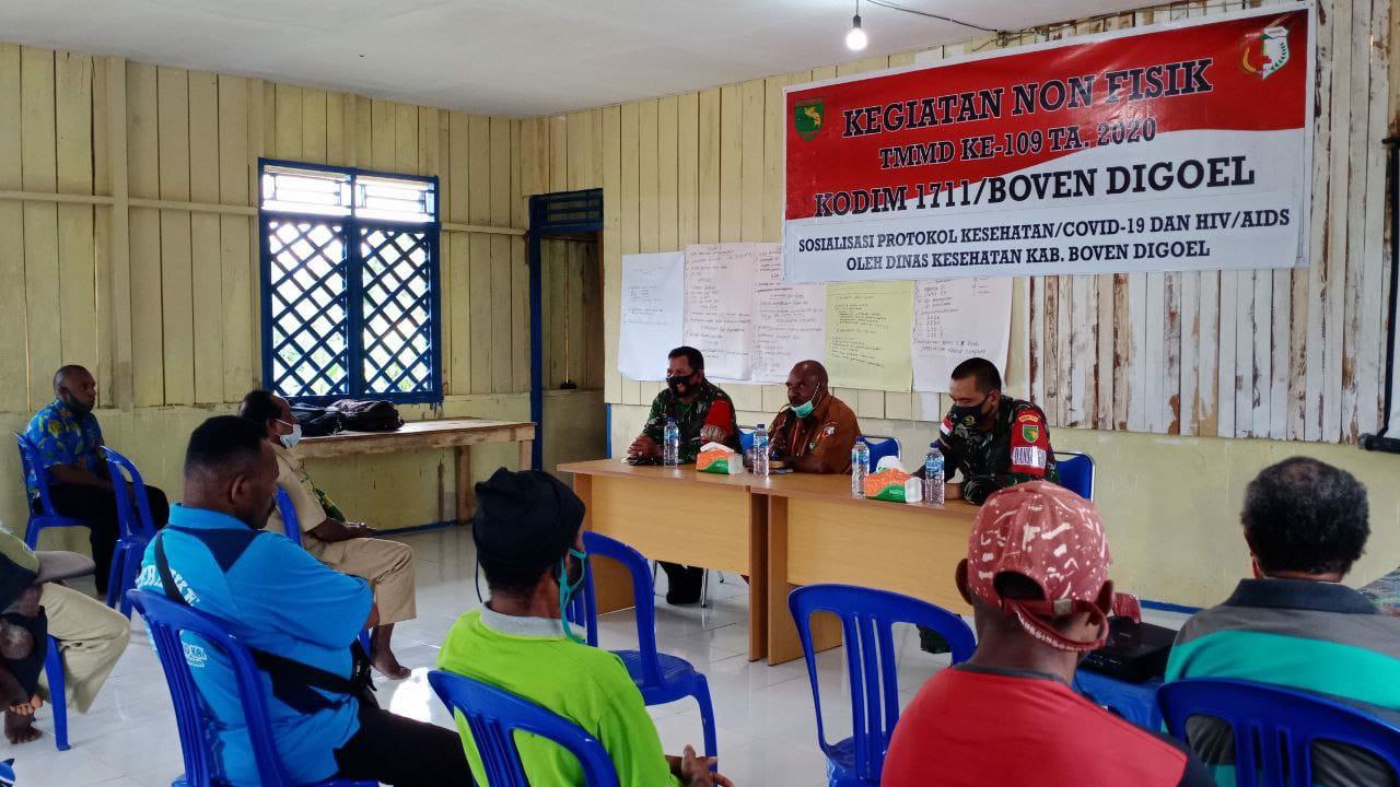 TMMD Ke-109 Kodim Boven Digoel Bersama Puskesmas Sosialisasi Protokol Kesehatan