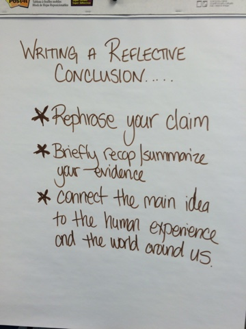 how to write a conclusion reflective writing