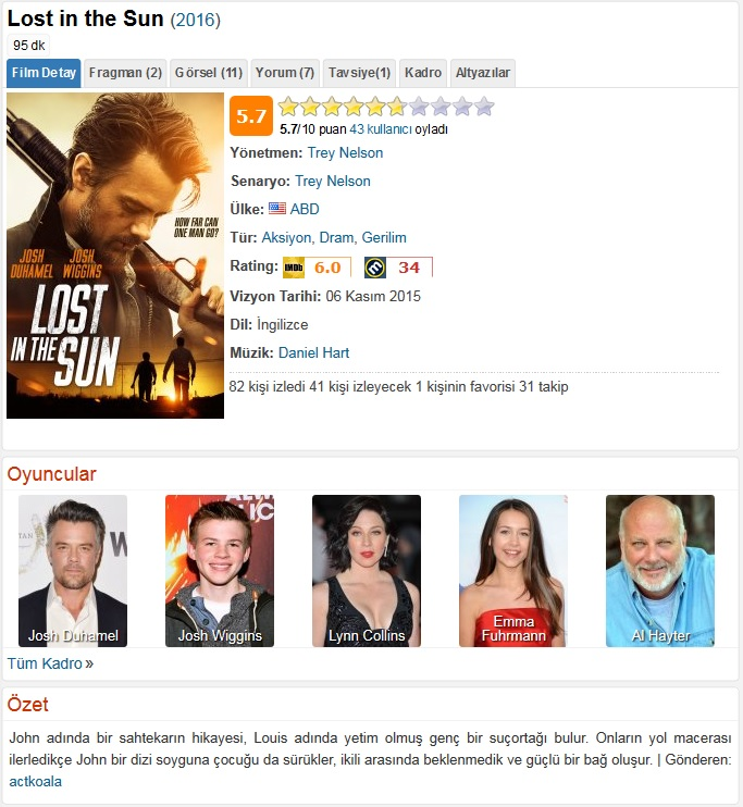 Lost in the Sun 2016 - 1080p 720p 480p - Türkçe Dublaj Tek Link indir
