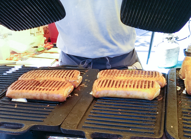 photo of cooked paninis on a grill