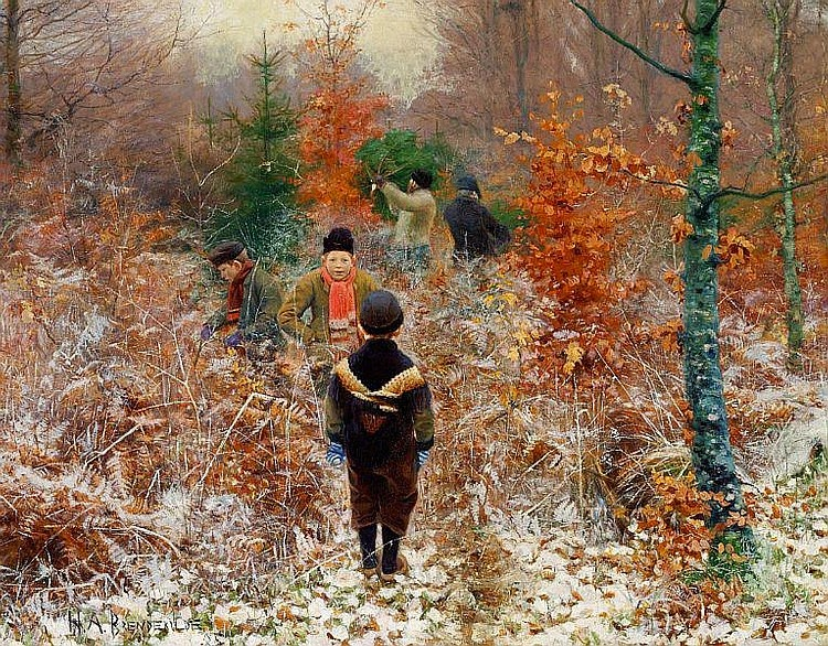 Hans Anderson Brendekilde - Cutting Christmas trees in the forest, in the foreground boys playing in the snow