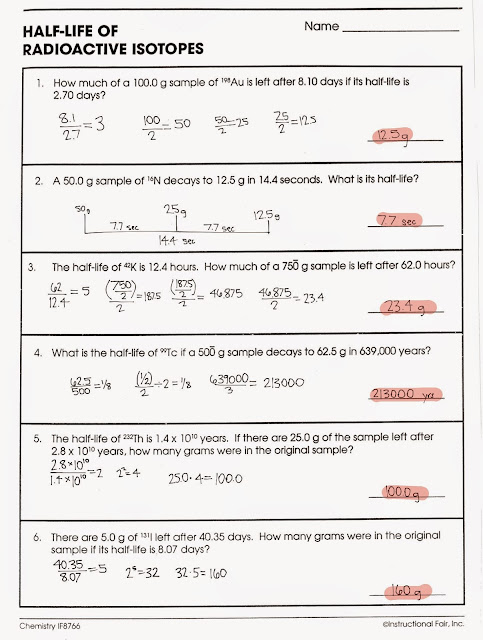 Tom Schoderbek Chemistry Nuclear Decay Half Lives Worksheet
