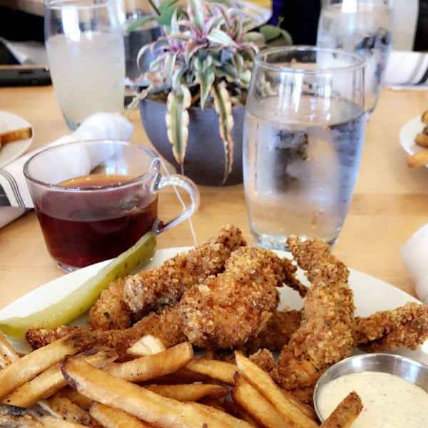 Chicken strip meal with rosemary fries (ketchup and ranch on the side)