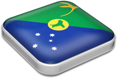 Flag of Christmas Island with metallic square frame
