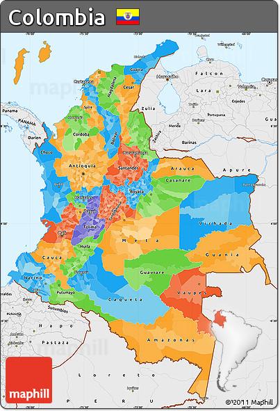 Mapa politico de Colombia con sus departamentos y Capitales1