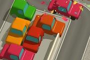 ركن السيارات في موقف السيارات المزدحم