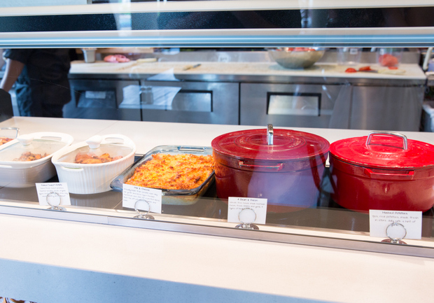 photo of hot dishes in a display case