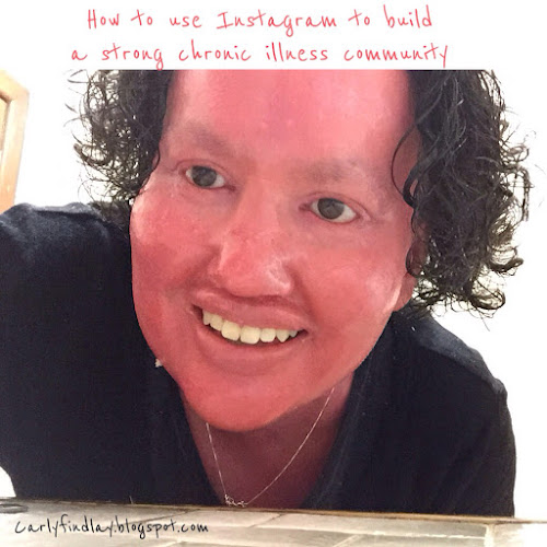 Carly Findlay selfie - text: How to use Instagram to build a strong chronic illness community.