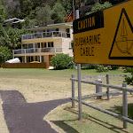 Caution sign on Mackerel Beach (30305)