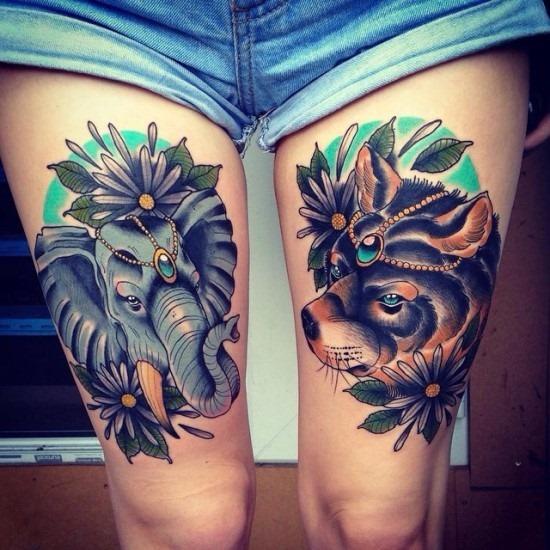 o_elefante_e_o_urso_coxa_tatuagem