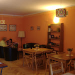 The Krakow hostel common room.
