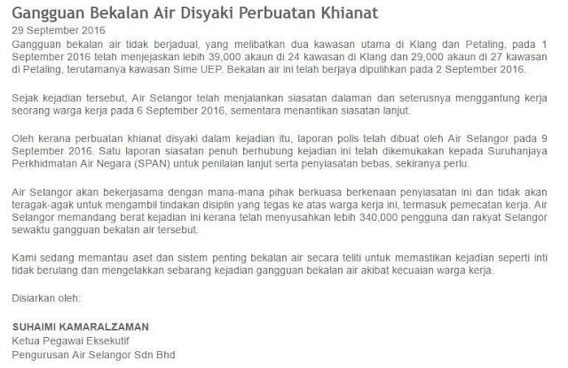 Isu Air Selangor Angkara Perbuatan Khianat Dalaman
