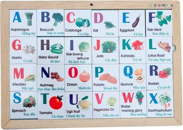 Bộ Alphabet chữ cái chủ đề rau củ A03.3 giúp bé làm quen với thế giới thực vật đa dạng