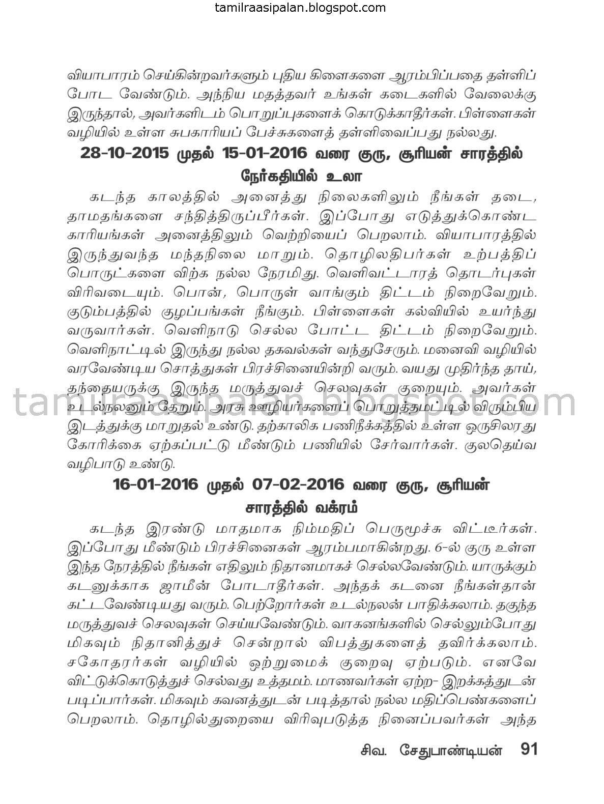 Meenam Guru Peyarchi Palan-2015-2016 Free Online