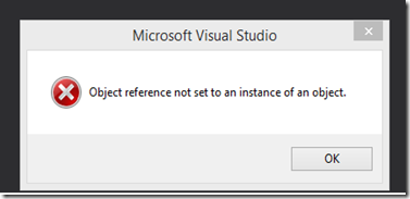 Development Solutions Object Reference Not Set To An Instance Of An Object After Install Of Visual Studio 2015 Update 3