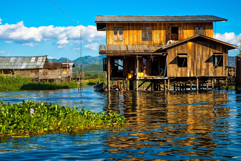 A floating house in Inle Lake, Myanmar