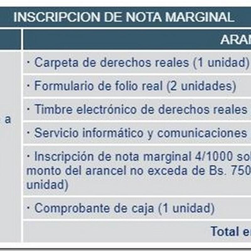 """Bolivia: Requisitos y costos para realizar """"Inscripción de Nota Marginal"""" en Derechos Reales"""