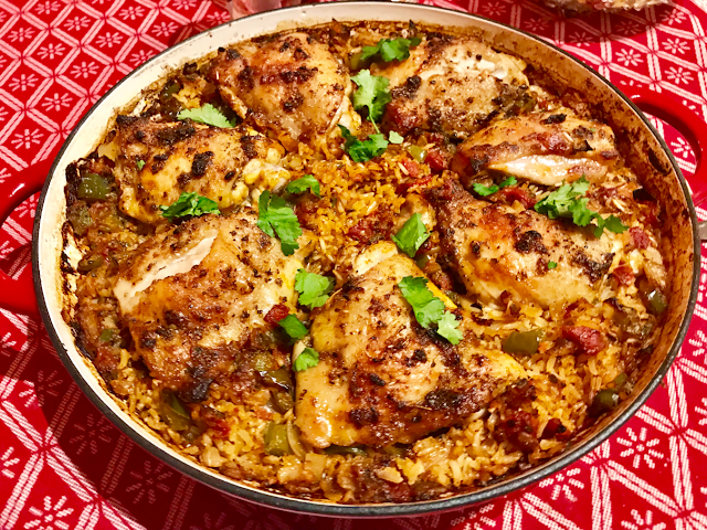 Healthy Mexican lime and coriander chicken with brown rice one pot meal