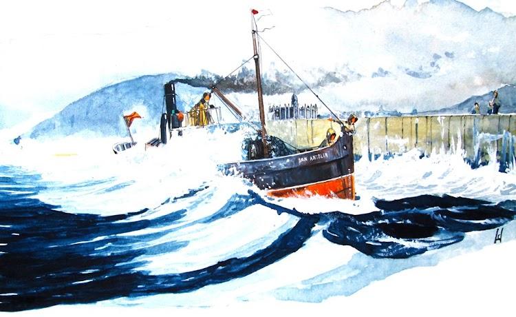 El vapor SAN ANTOLÍN atravesado y con maniobra comprometida a la entrada de Lekeitio. Acuarela de El Ilustrador de Barcos .jpg