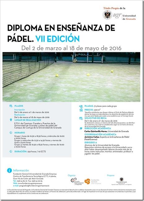 Diploma Ensañanza de Pádel VII Edición: 2 marzo al 18 mayo 2016 en Granada.
