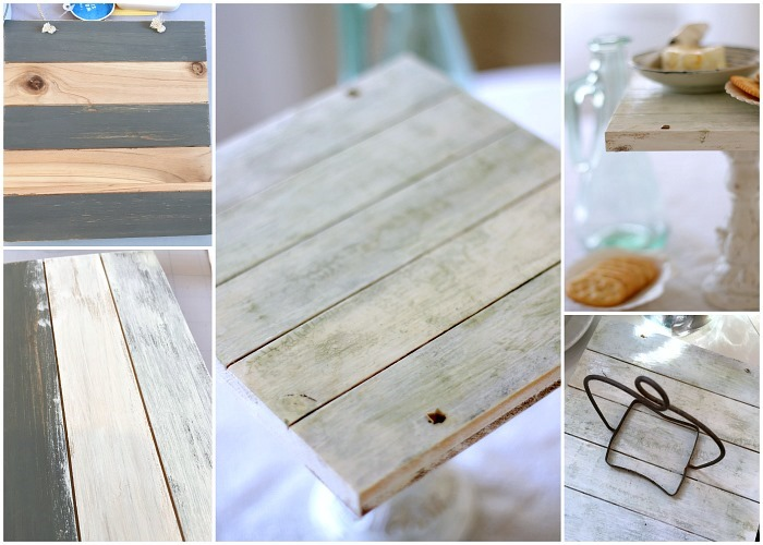 Coastal Decor Upcycled Wood to Pedestal Tray