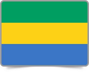 Gabonese framed flag icons with box shadow
