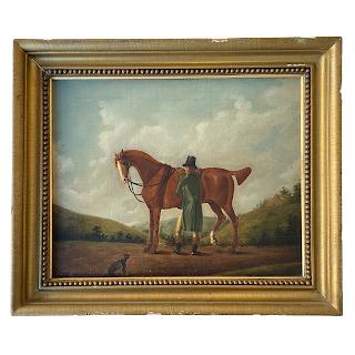 Antique 'Preparing To Mount' Oil Painting in the Manner of Francis Sartorius