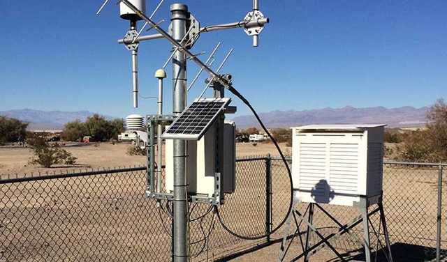 The Death Valley weather station. The temperature instrument is housed in the white box on the right. July 2018 was one of the hottest months in California history, and in Death Valley, California, the temperatures were so extreme in July that they set a new record for the hottest month ever measured at a U.S. station: an average temperature of 108.1°F (42.3°C). Photo: Jeff Masters