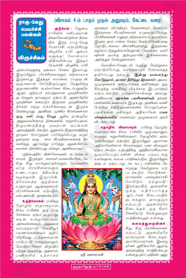 Complete and Full Rahu Kethu Peyarchi Palangal - Vrichikam