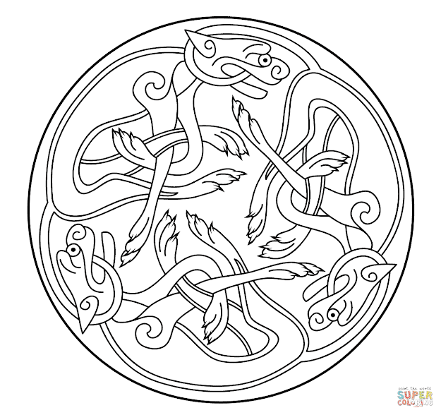 Click The Celtic Ornament Design From Book Of Kells Coloring