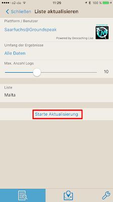 Offline-Geocaching mit Looking4Cache: Screenshot Aktualisierung starten
