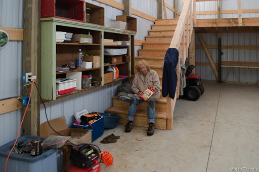 taking a break from electrical work in the RV shed