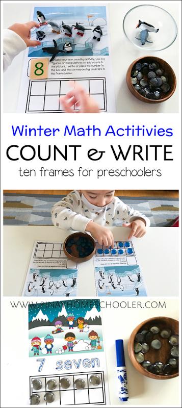 Winter Printables: Ten Frames Counting Activities