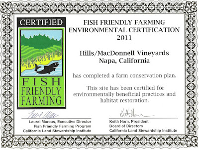 Hills/MacDonnell Vineyards Fish Friendly Farming Certificate