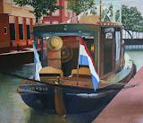 Boot, Meppel - 120 x 100 cm - olieverf op doek