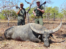 Mr Boris Kheyfits from Russia with a great buffalo bull of 45 inches wide. Taken after a long chase through low brush, this bull took a beating requiring more than 5 shots with a 470 NE double rifle and several others from a 375 H&H.