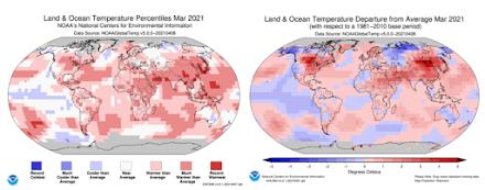 Μάρτιος 2021 : ο 8ος θερμότερος μήνας των τελευταίων 142 ετών σύμφωνα με το Εθνικό Κέντρο Διαχείρισης Ωκεάνιας & Ατμοσφαιρικής Κυκλοφορίας