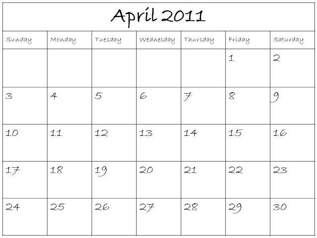 April 2011 Calendar. Plain April 2011 Calendar (Apr