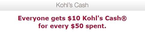 10 Dollar Kohls Cash Promo 5/25-5/29