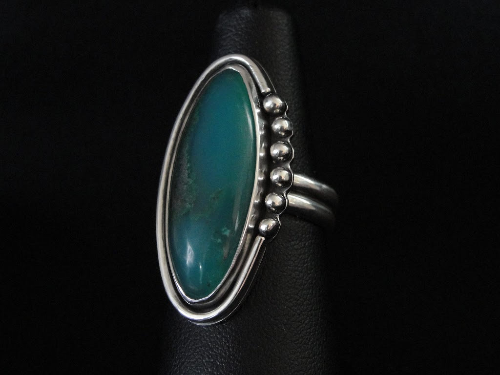 Chrysocolla Malachite in Gem Silica Ring.....Sold