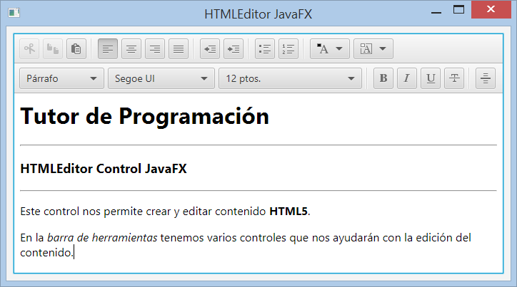 HTMLEditor control JavaFX para editar html5