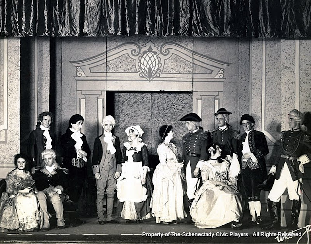 The cast of FATHER OF AN ONLY CHILD - February 1930.  Property of The Schenectady Civic Players Theater Archive.