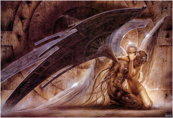 Luis Royo Fantasy Art Gothic Angel Holding Demon, Angels 1