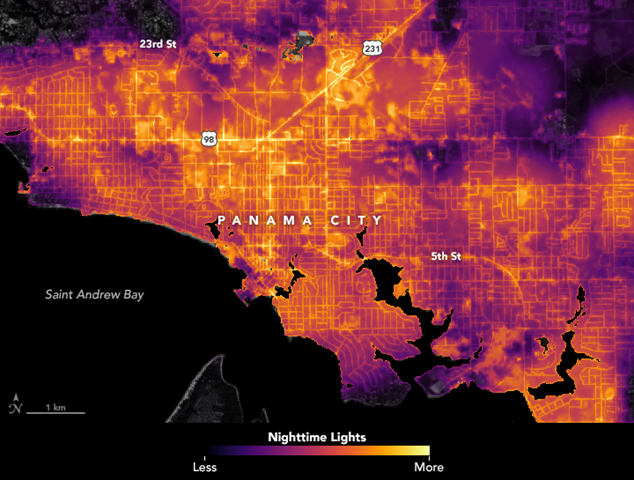 Data visualization of lights in Panama City, Florida, before Hurricane Michael struck. A team of scientists from NASA's Goddard Space Flight Center processed and corrected the raw data to filter out stray light from the Moon, fires, airglow, and any other sources that are not electric lights. Their processing techniques also removed other atmospheric interference, such as dust, haze, and thin clouds. The image shows conditions on 6 October 2018. Graphic: Joshua Stevens / NASA Earth Observatory